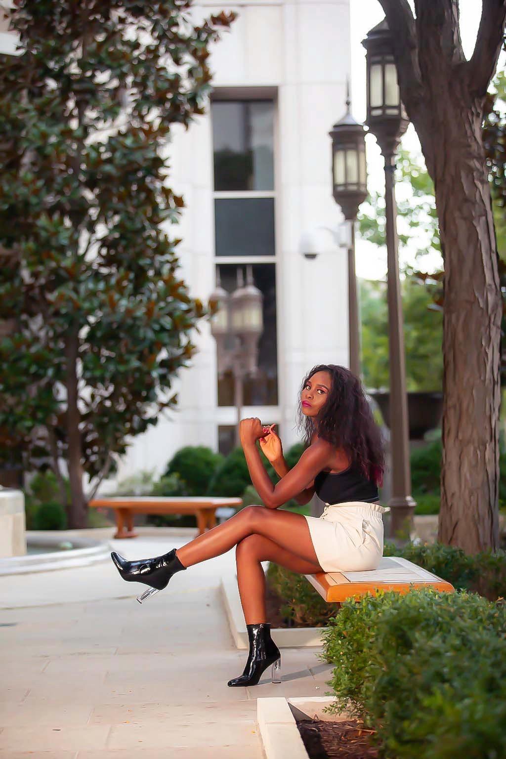 Model woman sitting