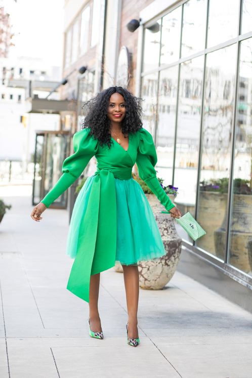 woman wearing green dress