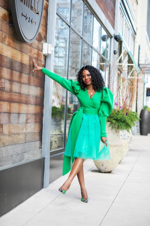 woman wearing green dress